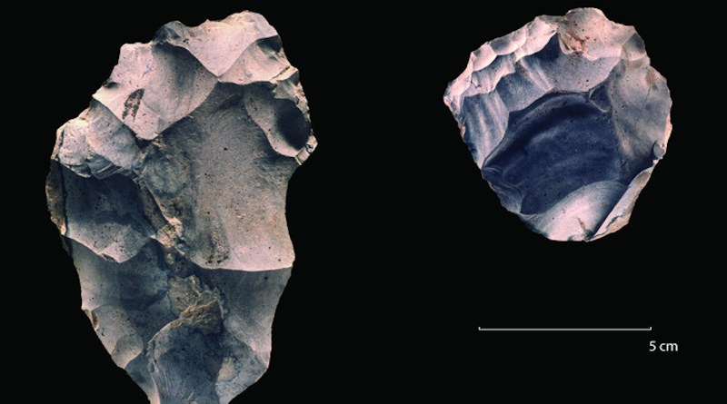 """The flake was struck from the core in a much earlier stage of the """"biography"""" of the core, when it was significantly larger. Other flakes produced between the large flake and the final core were also recovered at this site, one of the minimally 250,000 years old flint and bone scatters excavated in the 1980s by Leiden archaeologists at Maastricht-Belvédère (The Netherlands). CREDIT: Leiden University"""
