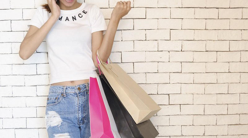 woman Girl Shopping Bags Standing Talking On The Phone latina