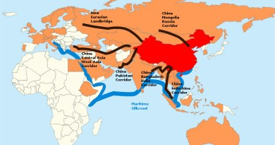 China's Belt and Road Initiative (BRI). China in Red, the members of the Asian Infrastructure Investment Bank in orange. Credit: Lommes, Wikipedia Commons