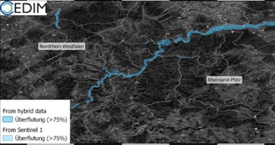 Estimated flooded area (> 75% of the area affected) in the district of Ahrweiler and in particular along River Ahr. (Figure: Andreas Schäfer, CEDIM/KIT) CREDIT: Andreas Schäfer, CEDIM/KIT