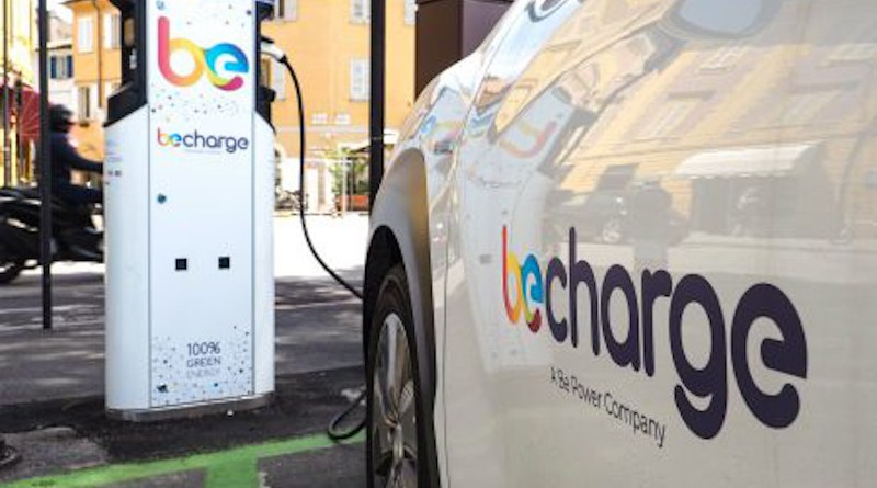 A Be Charge electric vehicle charging point. Photo Credit: Be Power