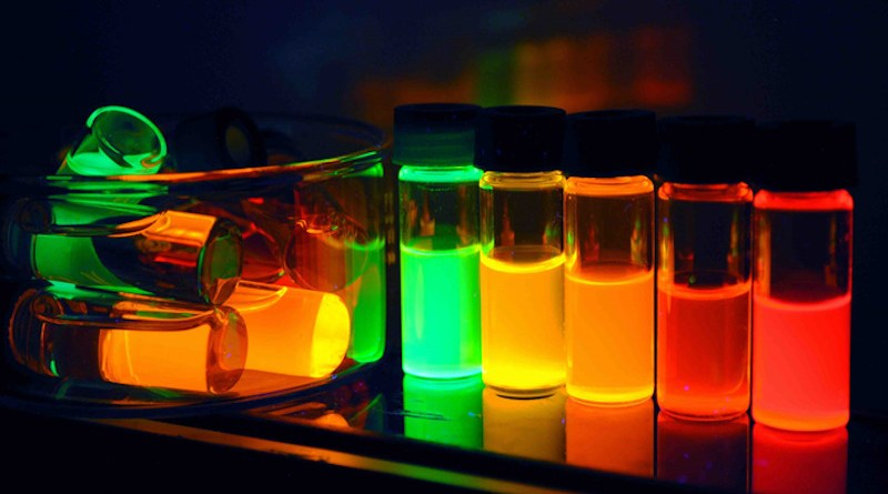 The tiny specs of matter called quantum dots can be tuned to emit light in specific wavelengths. That's just one quality that makes them valuable in a range of technology applications CREDIT: Los Alamos National Laboratory