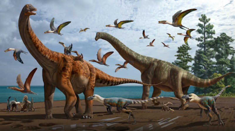 Artistic rendering of the palaeoecology of the Hami Pterosaur Fauna, with Silutitan sinensis on the left and Hamititan xinjiangensis on the right CREDIT: ZHAO Chuang and WANG Xiaolin