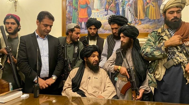 Taliban fighters in the Afghanistan Presidential Palace in Kabul on August 15, 2021. Photo Credit: Tasnim News Agency
