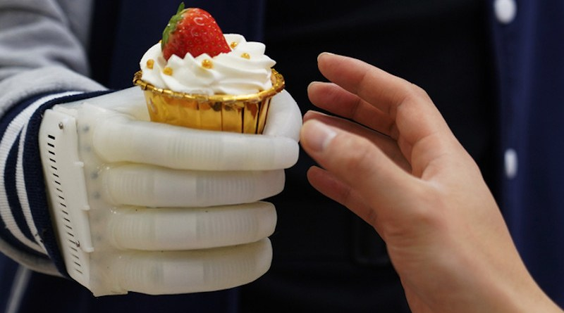 An MIT-developed inflatable robotic hand gives amputees real-time tactile control. The smart hand is soft and elastic, weighs about half a pound, and costs a fraction of comparable prosthetics. CREDIT: Courtesy of Xuanhe Zhao, Shaoting Lin, et al