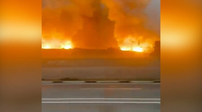 Video screenshot of fire at an arms depot on a military base in southern Kazakhstan. Credit: RFE/RL