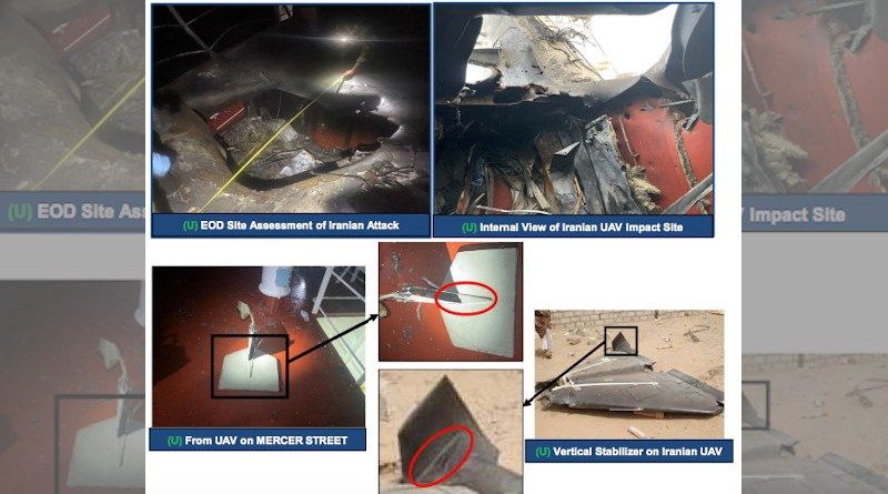 Images released by CENTCOM showing similarity to drone parts found in attack on Mercer Street and Iranian drone. Credit: https://www.centcom.mil/Portals/6/PressReleases/MERCERSTREETATTACK06AUG2%20final.pdf