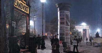 Berlin, 1884. With double the brilliance of gaslight, arc lamps were in high demand for stores and public areas. Arc lighting circuits used up to thousands of volts with arc lamps connected in series. Credit: Detail of painting by Carl Saltzmann - Museumsstiftung Post und Telekommunikation, Wikipedia Commons