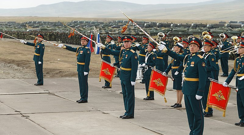 The Military Band of the Eastern Military District during the opening parade of Vostok 2018 joint military exercises with Russia, China and Mongolia. Photo Credit: Mil.ru