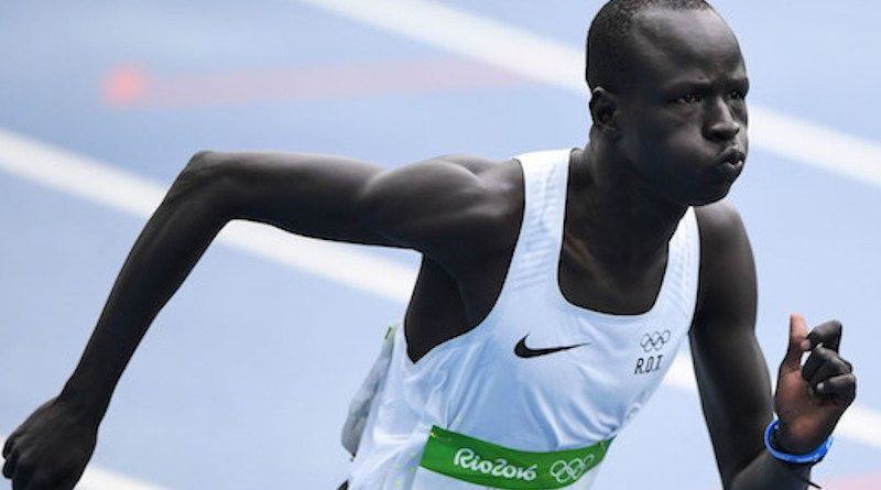 South Sudanese refugee, Yiech Pur Biel, runs the 800-metres for the Refugee Olympic Team in Rio. (August 2016) © UNHCR/Benjamin Loyseau