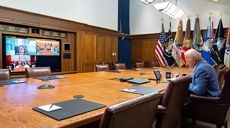 U.S. President Joe Biden and Vice President Kamala Harris holding a video conference with the U.S. National Security team to discuss the situation in Afghanistan. Photo Credit: The White House, Wikipedia Commons