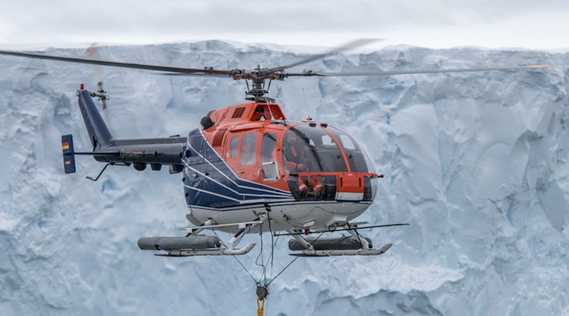 Geophysical measurements with a magnetometer being towed with RV Polarstern's board helicopter. CREDIT: Alfred-Wegener-Institut / Thomas Ronge