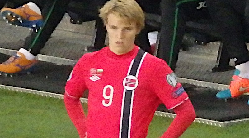 File photo of Martin Odegaard on his competitive debut for Norway in 2014. Photo Credit: Kjetil Eggen, Wikipedia Commons