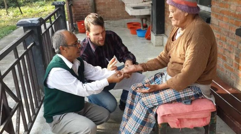 A leprosy patient is examined at Anandaban Hospital in Lalitpur, Nepal. The hospital is run by The Leprosy Mission International in a country where leprosy is still prevalent. (Photo: Tom Bradley/The Leprosy Mission International)