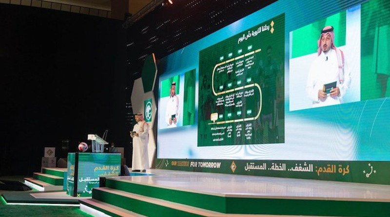 Hassan Al-Misehal, President of SAFF, presenting 'Our Tactics For Tomorrow.' (Supplied/SAFF)