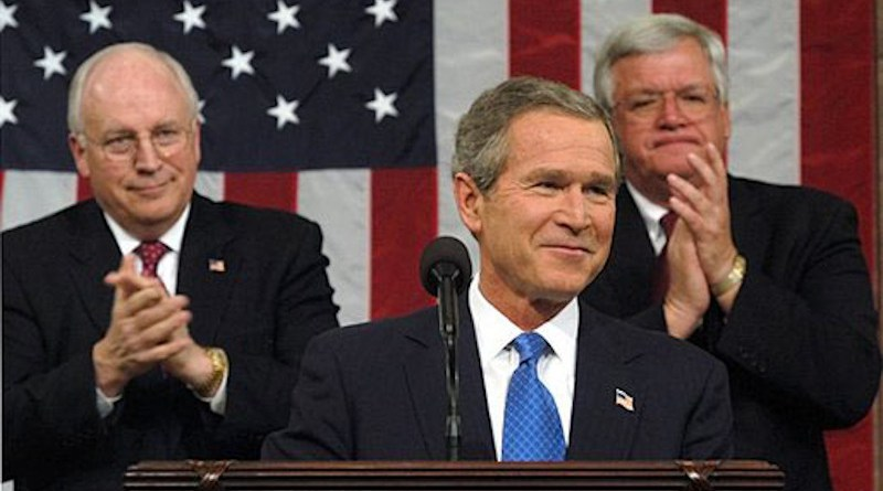 US President George W. Bush delivers 2003 State of Union speech, with Vice President Dick Cheney to left, and Speaker of the House Dennis Hastert to the right. White House photo by Eric Draper