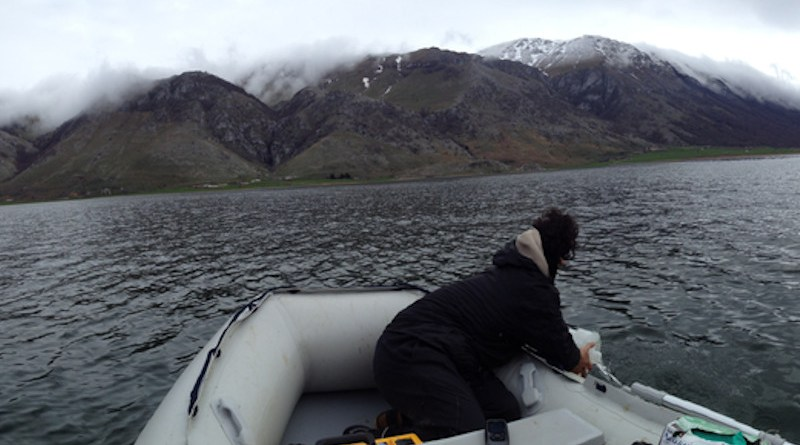 The researchers trawl the surface waters of a European lake for plastic and fiber pollution. CREDIT: Tanentzap AJ et al., 2021, PLOS Biology, CC BY 4.0
