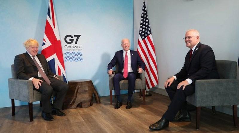 Boris Johnson, Joe Biden and Scott Morrison at the G7 summit in June. (Twitter Photo)