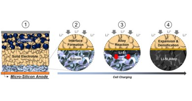 1) The all solid-state battery consists of a cathode composite layer, a sulfide solid electrolyte layer, and a carbon free micro-silicon anode. 2) Before charging, discrete micro-scale Silicon particles make up the energy dense anode. During battery charging, positive Lithium ions move from the cathode to the anode, and a stable 2D interface is formed. 3) As more Lithium ions move into the anode, it reacts with micro-Silicon to form interconnected Lithium-Silicon alloy (Li-Si) particles. The reaction continues to propagate throughout the electrode. 4) The reaction causes expansion and densification of the micro-Silicon particles, forming a dense Li-Si alloy electrode. The mechanical properties of the Li-Si alloy and the solid electrolyte have a crucial role in maintaining the integrity and contact along the 2D interfacial plane. CREDIT: University of California San Diego
