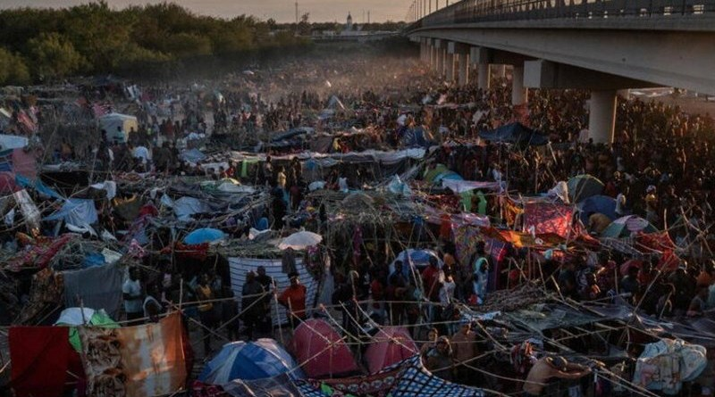 Haitian migrants on the border between Texas and Mexico. Photo Credit: Tasnim News Agency