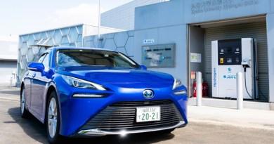 A hydrogen car is parked at a hydrogen station at Kyushu University. CREDIT: Kyushu University