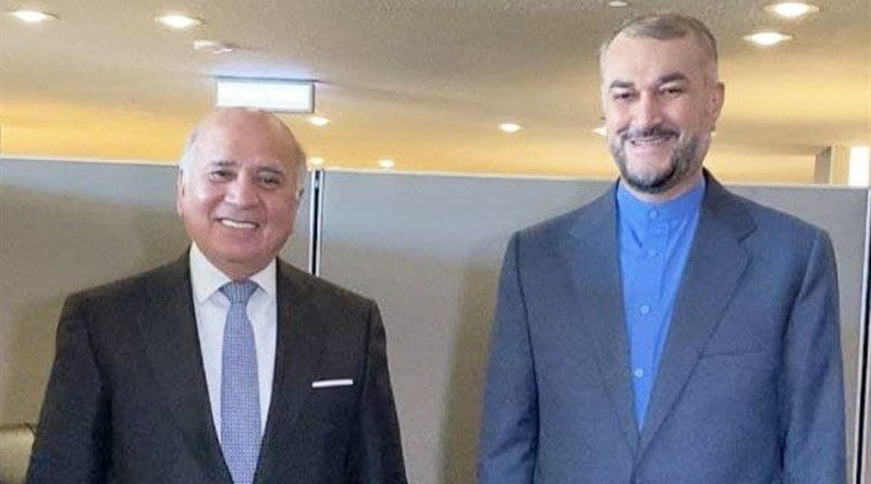 Iraq's Foreign Minister Fuad Hussein with Iran's Foreign Minister Hossein Amirabdollahian. Photo Credit: Tasnim News Agency