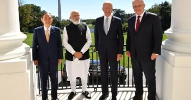 Japanese Prime Minister Yoshihide Suga, Indian Prime Minister Narendra Modi, US President Joe Biden and Australian Prime Minister Scott Morrison at Quad Leaders meet in Washington D.C. Photo Credit: PM India