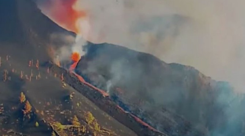 Screenshot of video footage showing the destruction of Saint Pius X Church in La Palma in the Canary Islands on Sept. 26, 2021./ ACI Digital