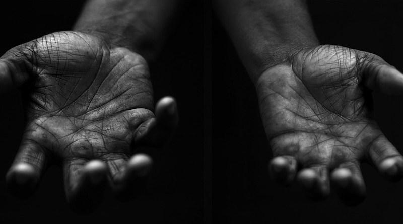 black hands palms