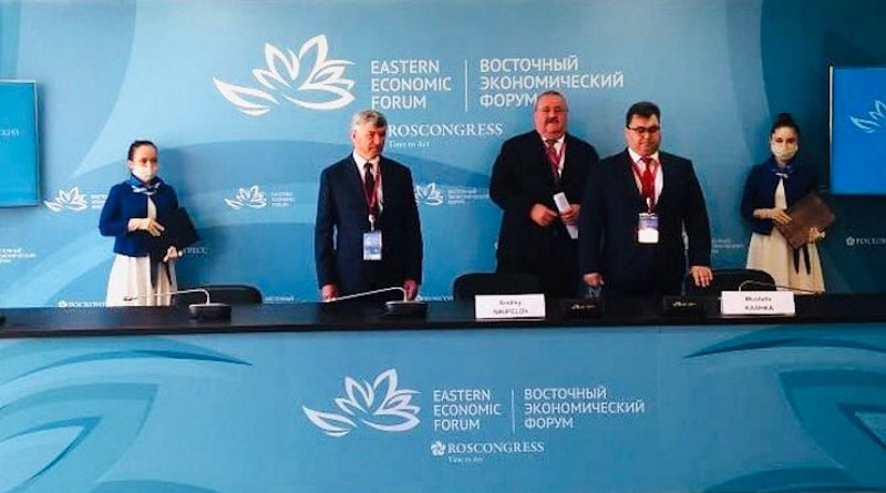 Atomenergomash Director General Andrey Nikipelov and Atomflot Director General Mustafa Kashka signed agreements to cooperate in the implementation of infrastructure projects in the Arctic, including the supply of energy to the Baimskaya mine through floating power units (Image: Rosatom)