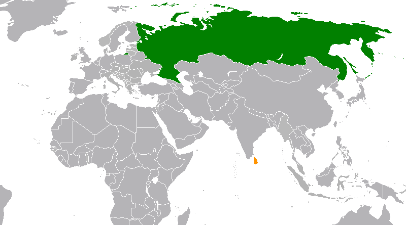 Locations of Russia and Sri Lanka. Credit: Wikipedia Commons