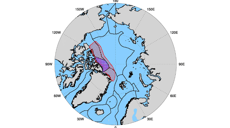 The Arctic Ocean and its projected Last Ice Area (outlined in red), north of Greenland and the Canadian Arctic Archipelago. Purple cross-hatched portion of the Last Ice Area is Canada's Tuvaijuittuq Marine Protected Area. Black lines delineate exclusive economic zones of the Arctic nations. CREDIT: Adapted from Newton et al., Earth's Future, 2021