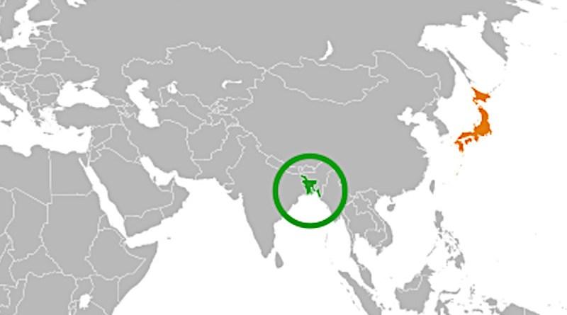 Locations of Bangladesh (green) and Japan. Credit: Wikipedia Commons