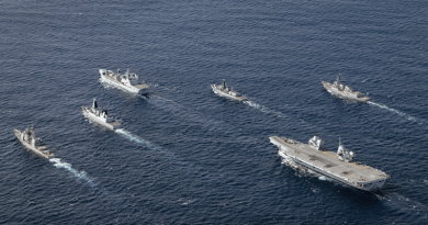 HMS Queen Elizabeth in formation with her Carrier Strike Group. Photo Credit: UK MOD