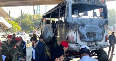 Aftermath of bus bombing in Damascus, Syria. Photo Credit: Tasnim News Agency