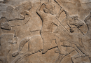The invention of bit and bridle eventually led to the evolution of armed mounted warriors like the one depicted in an Assyrian relief from 8th century BCE. CREDIT: Created: 5 June 2010 by Ealdgyth britishmuseumassyrianrelieftwohorsemennimrud.jpg