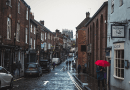 Street Buildings Town Road Pavement Cobble Paving York England United Kingdom