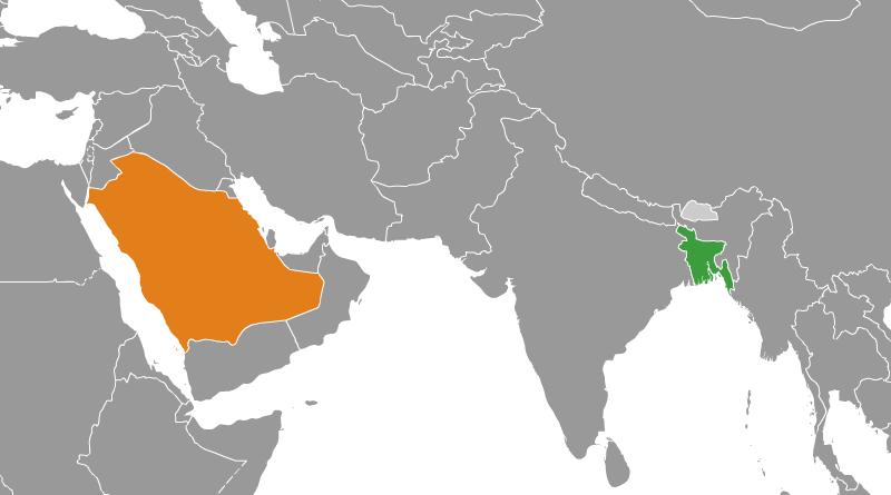 Locations of Bangladesh (green) and Saudi Arabia. Credit: Wikipedia Commons