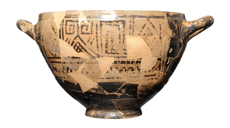 The Cup is on permanent display at the Museo Archeologico Nazionale di Villa Arbusto, Lacco Ameno (Ischia Island). The metric inscription, partially in hexameter verses, translates roughly to 'I am Nestor's cup, good to drink from. Whoever drinks this cup empty, straightaway desire for beautiful-crowned Aphrodite will seize him' (picture from Soprintendenza Archeologia, Belle Arti e Paesaggio per l'area metropolitana di Napoli). CREDIT: Gigante et al., 2021, PLOS ONE, CC-BY 4.0 (https://creativecommons.org/licenses/by/4.0/)