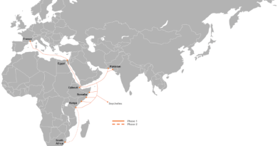 Route of PEACE (Pakistan and East Africa Connecting Europe) submarine cable. Credit: Orange