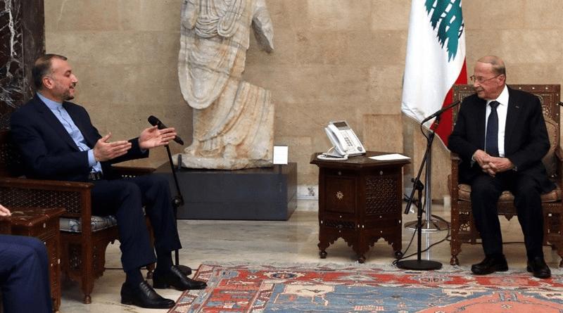 Iranian Foreign Minister Hossein Amirabdollahian with Lebanese President Michel Aoun. Photo Credit: Tasnim News Agency
