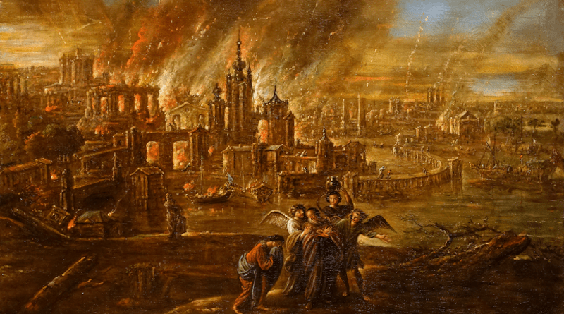 Sodom and Gomorrah afire by Jacob de Wet II, 1680. Credit: Wikipedia Commons
