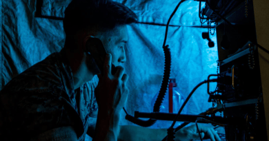 Marine Corps Lance Cpl. Alex Oley, a field radio operator with Charlie Company, 8th Communication Battalion, conducts a radio communication check during Exercise Cyber Fury 21 at Camp Lejeune, N.C., July 26, 2021. Photo Credit: Marine Corps Cpl. Armando Elizalde