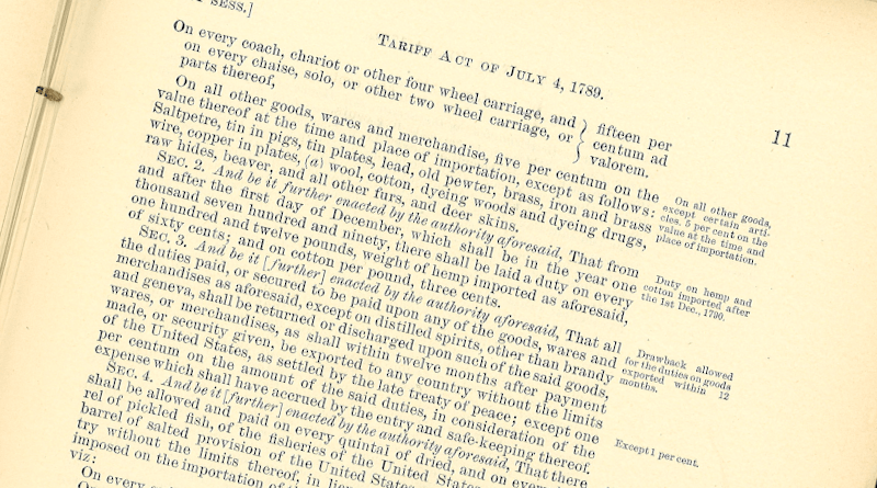 Tariff Act of July 4th 1789 (photo courtesy of Comstock & Theakston Inc.), Wikipedia Commons