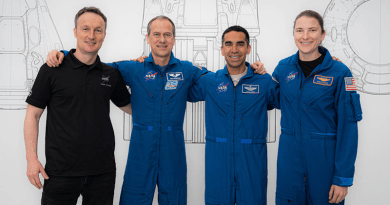 SpaceX Crew-3 astronauts (from left) Matthias Maurer, Thomas Marshburn, Raja Chari, and Kayla Barron pose for a portrait during preflight training at SpaceX headquarters in Hawthorne, California. CREDIT: SpaceX