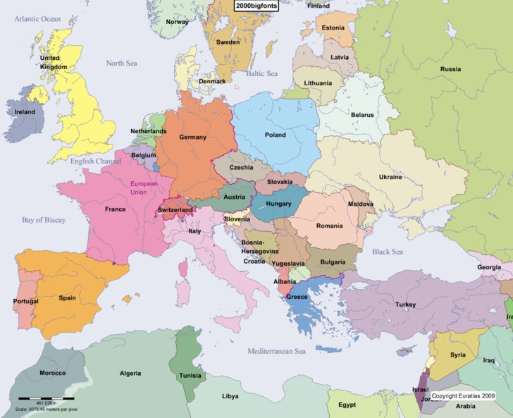 Complete Map of Europe in Year 2000