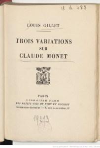 couverture de Trois variations sur Claude Monet
