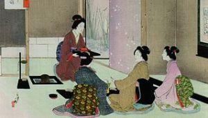 estampe japonaise représentant une cérémonie du thé