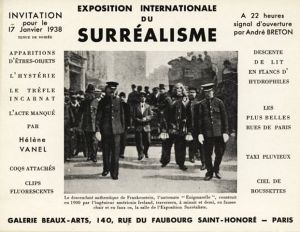 Carton d'invitation pour l'exposition internationale du surréalisme à Paris, 1938