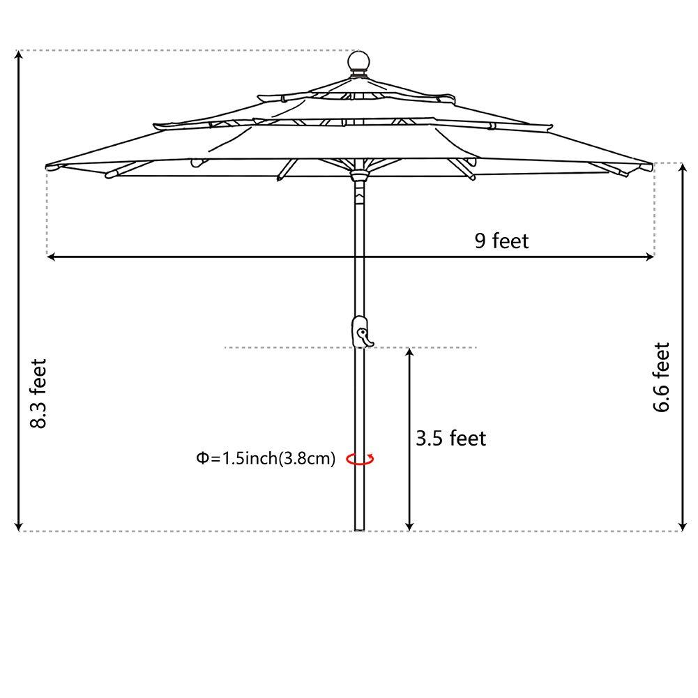 eliteshade sunbrella 9ft triple tiers